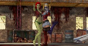 Deadly Duo PoisonIvy and Harley Quinn by cablex452