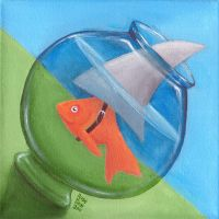Fishbowl Shark by tursiart