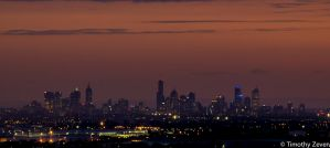 Melbourne Skyline by zevensoft