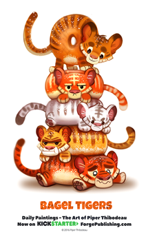 Daily 1363. Bagel Tigers by Cryptid-Creations