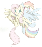 Fluttershy and Rainbow Dash by PrincessNoob