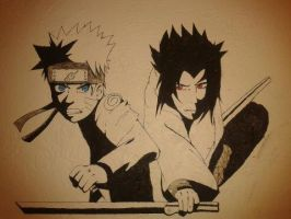 Naruto and Sasuke Wall Art by UltimatePacman