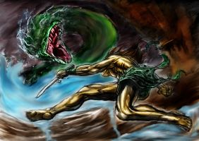 Tarzan vs Python  color by CHADBOVEY