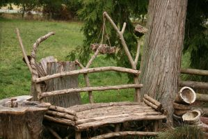 Wooden Branch bench by Pabloramosart