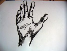 charcoal drawing - hand - 1. by xe3tec