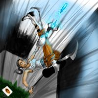 Chell falling by TheSnowZombie