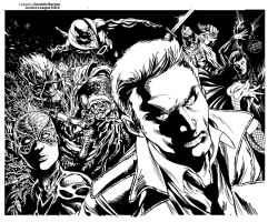 Justice League Dark inked double page by geraldohsborges