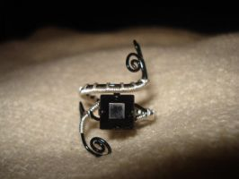 Black Silver Wire Wrapped Ring by Toowired