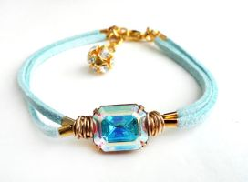 SOLD - Swarovski AB Crystal Light Blue Bracelet by crystaland