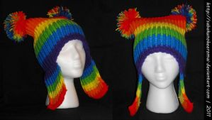 Knitted Rainbow Hat for ManiacalArtist by SabakuNoHeeromai