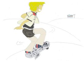 roxas on a skateboard by SaruwatariMiyako