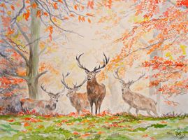 Stags in Autumn by Tantchen-Lulu
