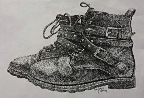 Pointilism leather boots by Leodrolf