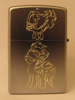 Twilight Sparkle and Spitfire on a zippo lighter by tiwake