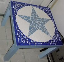 Mosaic Tile Pentacle Table blu by alanahawk