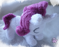 Sleeping Rarity filly plush by PinkuArt