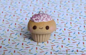 Kawaii Strawberry Sprinkle Cupcake Charm by xoxRufus
