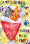 Hollydaycardproject2016 - kittens by Chello-Chellos
