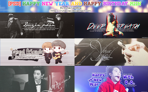 [Pack PSD] HAPPY NEW YEAR AND HAPPY BIRTHDAY MIIN by RynieXiao