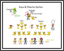 Kasu and Pikachu homemade sprites by SpriteGirl