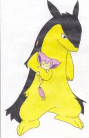 Typhlosion and lil' Skitty by Minty-MANZANA