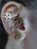 Steampunk wire wrapped ear cuff II by Hiddendemon-666
