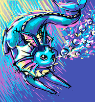 Vaporeon Used Bubblebeam! by naturalradical