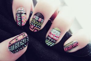 Neon Tribal Aztec by cheniie