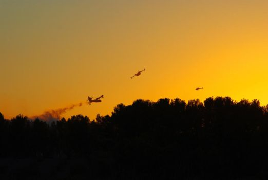 Canadairs et helicoptere by Nasrian