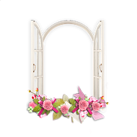 Window with Pink Flowers Transparent Frame by Hannahelite