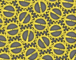 Gold Cog Wall by chrishillman