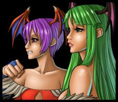 Lilith and Morrigan: Daimida by grampsart