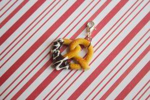 polymer clay chocolate dipped pretzel by l337Jacqui