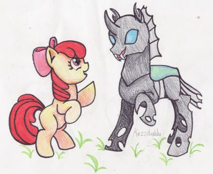 Applebloom and Changling dancing by kezzDaddy