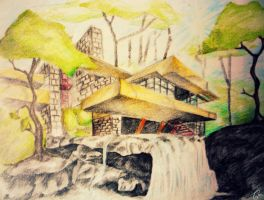 Waterfall House by dr4wing-pencil
