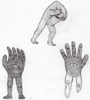 Hand Monster Doodles by ZombiePsychologist