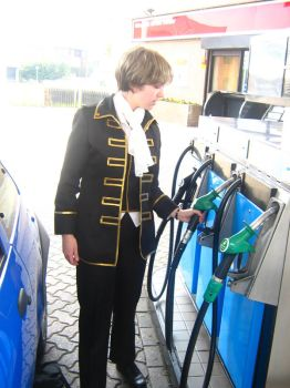 -Okita at the Petrol Station- by invisible-deity
