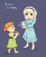 Little Elsa and Anna by Joichiroll
