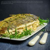 roasted carp with barley, mushrooms and rosemary by Pokakulka