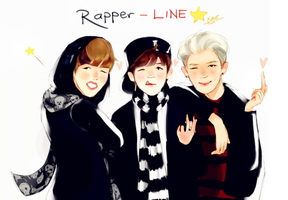 BTS// Rapper LINE- J-Hope/ Suga/ Rapmonster by BlueSushiKitty2