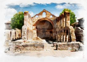 digital Watercolor- Old Catedral from Nessebar by lioko83