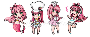 Pinkish chibies by Shiroi-Neko-da