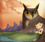 Owl and Girl by Rahxy