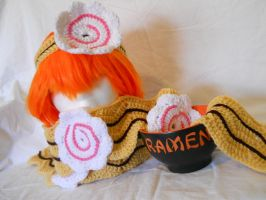 Ramen Scarf with Naruto headband by YarnAlchemy