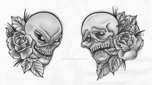 Happy Sad Drama Skulls by TattooSavage