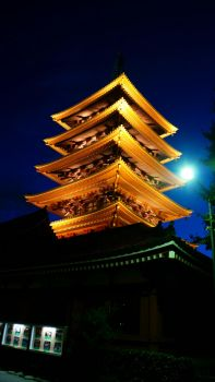 Pagoda of sensoji at Night by shawnical