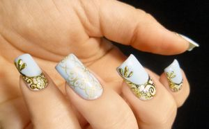 Gold Scrolled and Stamped Nail Art by TenLittleCanvases
