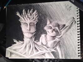 Groot and Rocket by Bubblesaurus-rex