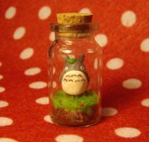 Polymer Clay Totoro in a Bottle by ChroniclesOfKate