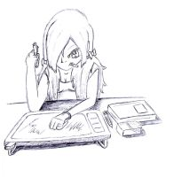 Me working on my drawings by AiriAvianna
